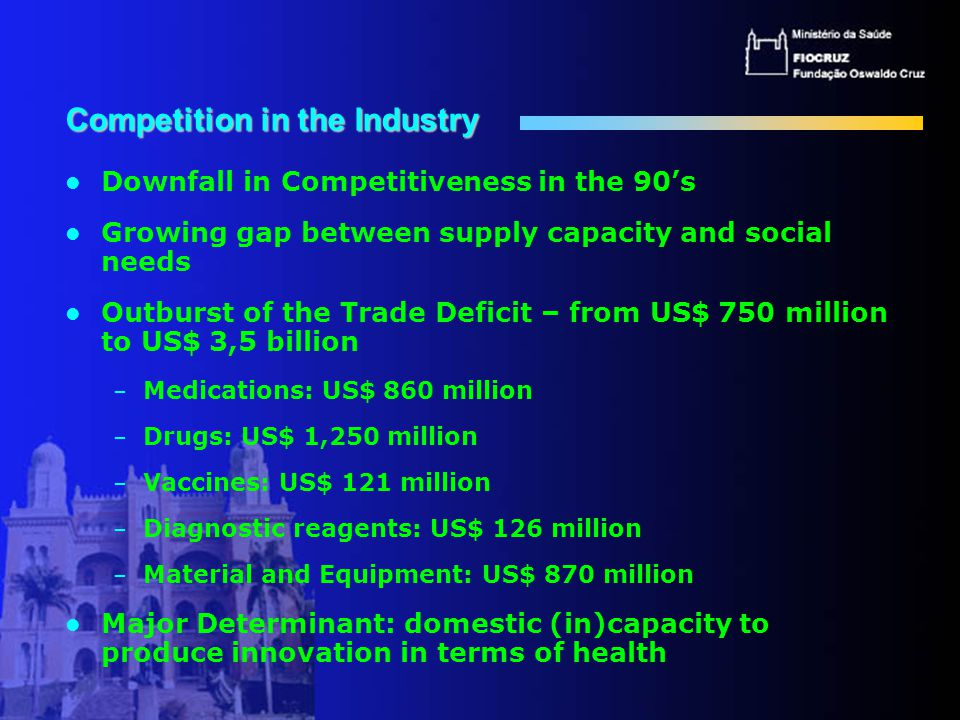 Competition in the Industry Downfall in Competitiveness in the 90's Growing gap between supply capacity and social needs Outburst of the Trade Deficit – from US$ 750 million to US$ 3,5 billion – Medications: US$ 860 million – Drugs: US$ 1,250 million – Vaccines: US$ 121 million – Diagnostic reagents: US$ 126 million – Material and Equipment: US$ 870 million Major Determinant: domestic (in)capacity to produce innovation in terms of health