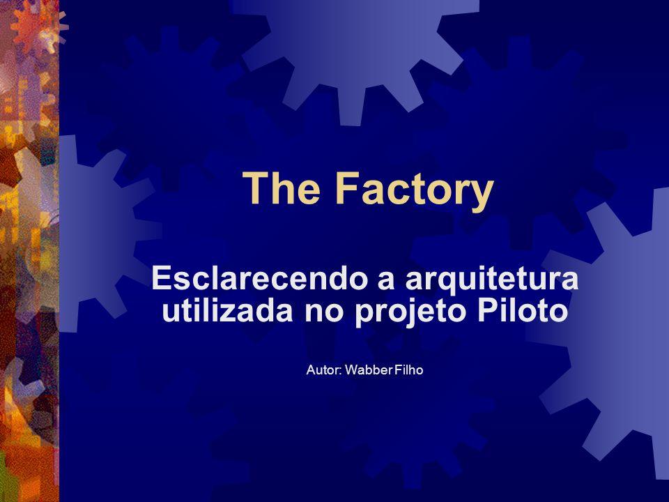 The Factory Esclarecendo a arquitetura utilizada no projeto Piloto Autor: Wabber Filho
