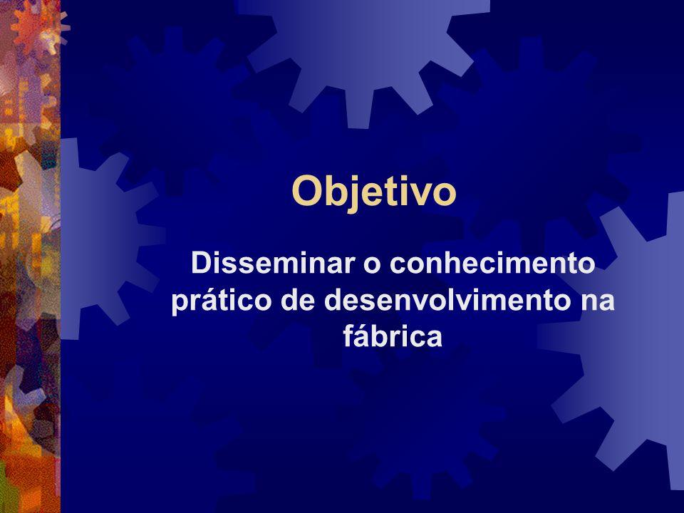 Objetivo Disseminar o conhecimento prático de desenvolvimento na fábrica