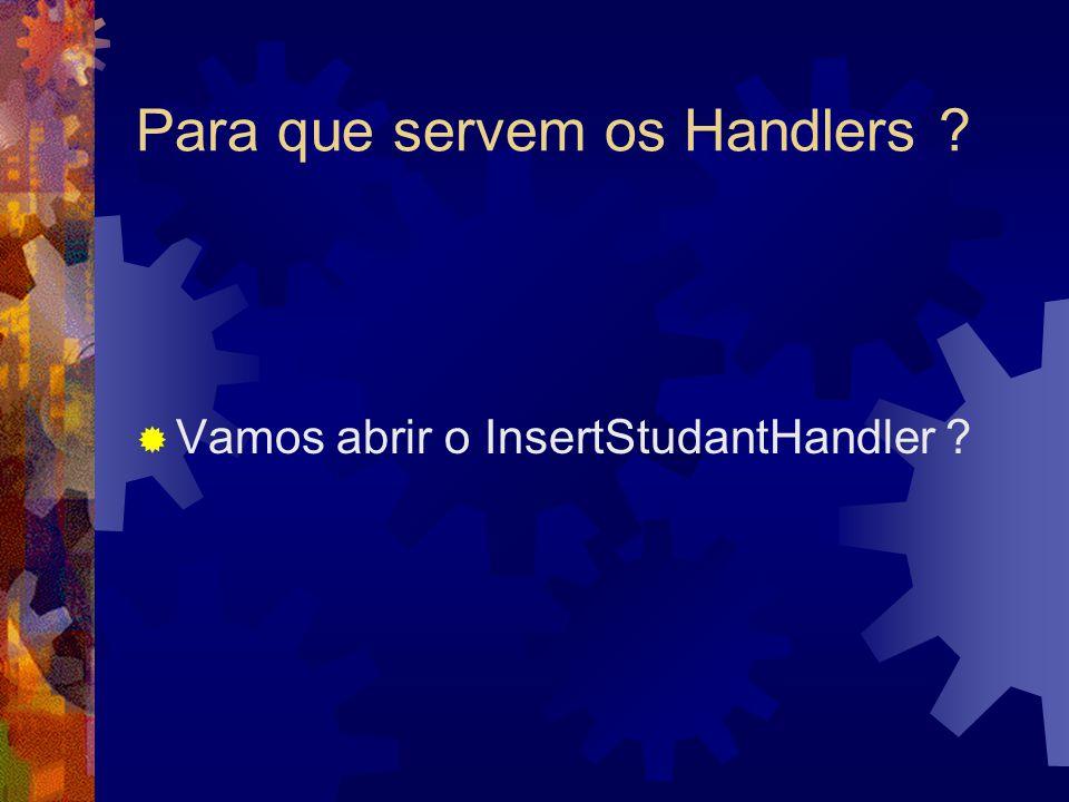 Para que servem os Handlers  Vamos abrir o InsertStudantHandler