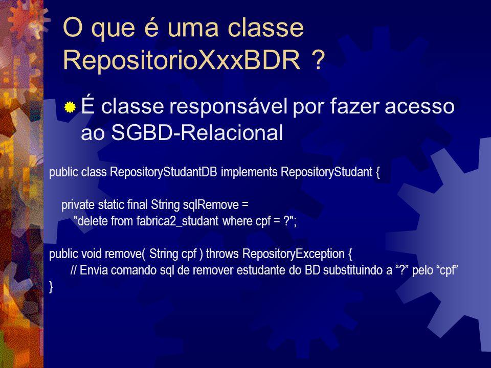 O que é uma classe RepositorioXxxBDR .