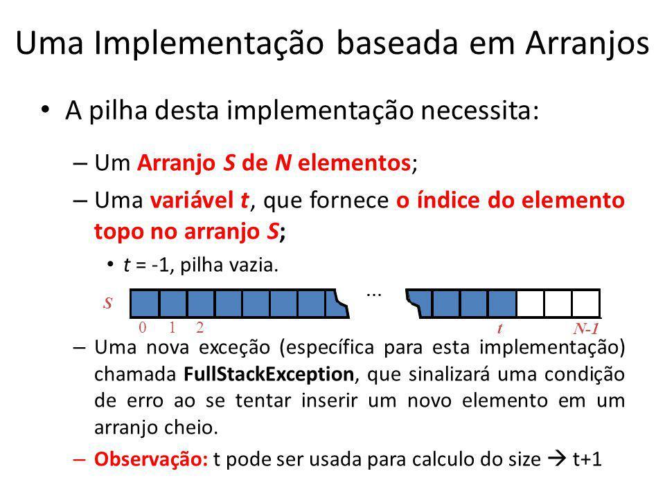 Uma Implementação baseada em Arranjos A pilha desta implementação necessita: – Um Arranjo S de N elementos; – Uma variável t, que fornece o índice do