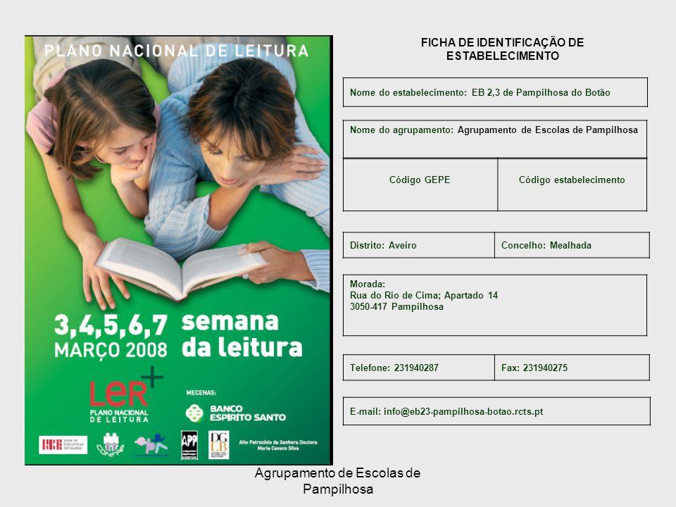 Agrupamento de Escolas de Pampilhosa FICHA DE IDENTIFICAÇÃO DE ESTABELECIMENTO Nome do estabelecimento: EB 2,3 de Pampilhosa do Botão Código GEPECódigo estabelecimento Nome do agrupamento: Agrupamento de Escolas de Pampilhosa Morada: Rua do Rio de Cima; Apartado 14 3050-417 Pampilhosa Telefone: 231940287Fax: 231940275 E-mail: info@eb23-pampilhosa-botao.rcts.pt Distrito: AveiroConcelho: Mealhada