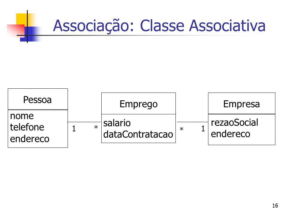16 Associação: Classe Associativa * Pessoa nome telefone endereco Empresa rezaoSocial endereco Emprego salario dataContratacao 1 * 1