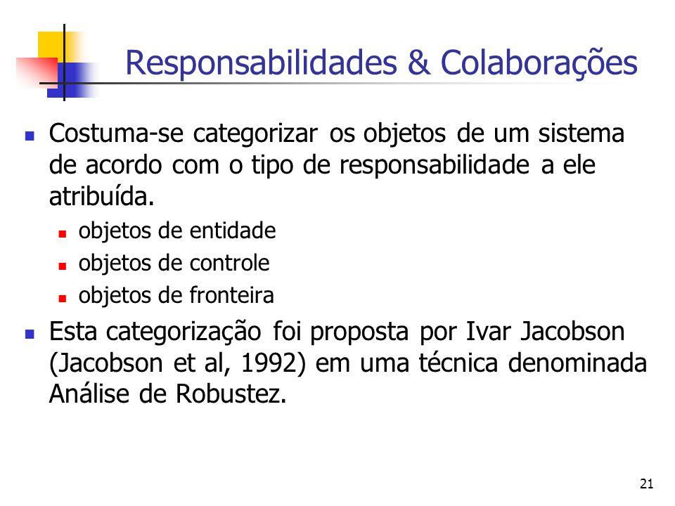 21 Responsabilidades & Colaborações Costuma-se categorizar os objetos de um sistema de acordo com o tipo de responsabilidade a ele atribuída.