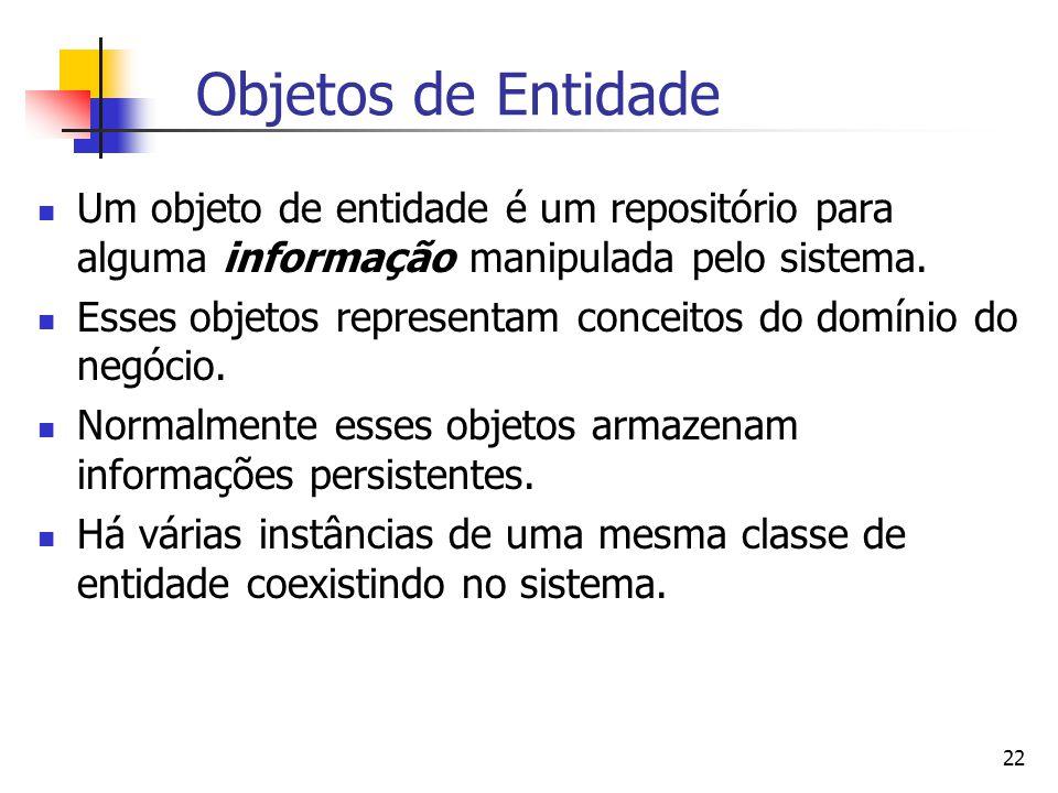 22 Objetos de Entidade Um objeto de entidade é um repositório para alguma informação manipulada pelo sistema.