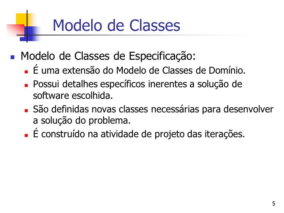 5 Modelo de Classes Modelo de Classes de Especificação: É uma extensão do Modelo de Classes de Domínio.