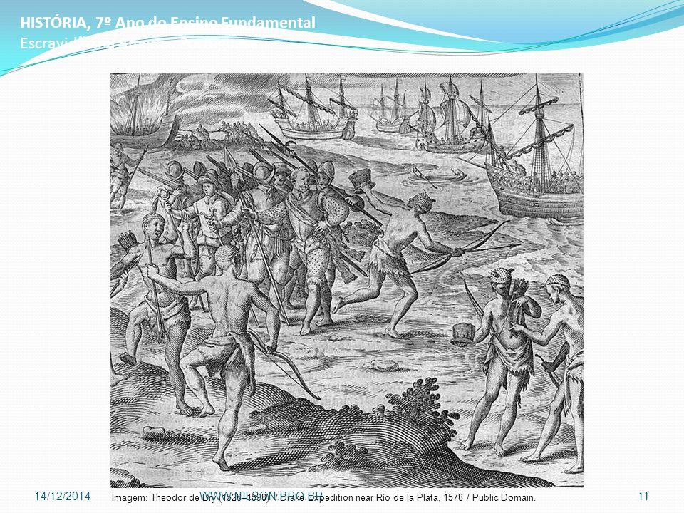 HISTÓRIA, 7º Ano do Ensino Fundamental Escravidão na América Portuguesa Imagem: Theodor de Bry (1528–1598) / Drake Expedition near Río de la Plata, 1578 / Public Domain.