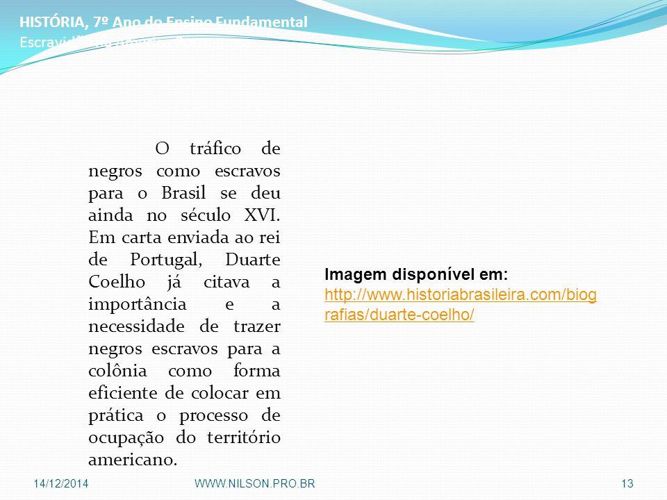 O tráfico de negros como escravos para o Brasil se deu ainda no século XVI. Em carta enviada ao rei de Portugal, Duarte Coelho já citava a importância