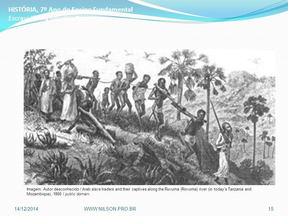 HISTÓRIA, 7º Ano do Ensino Fundamental Escravidão na América Portuguesa Imagem: Autor desconhecido / Arab slave traders and their captives along the Ruvuma (Rovuma) river (in today s Tanzania and Mozambique), 1866 / public domain.