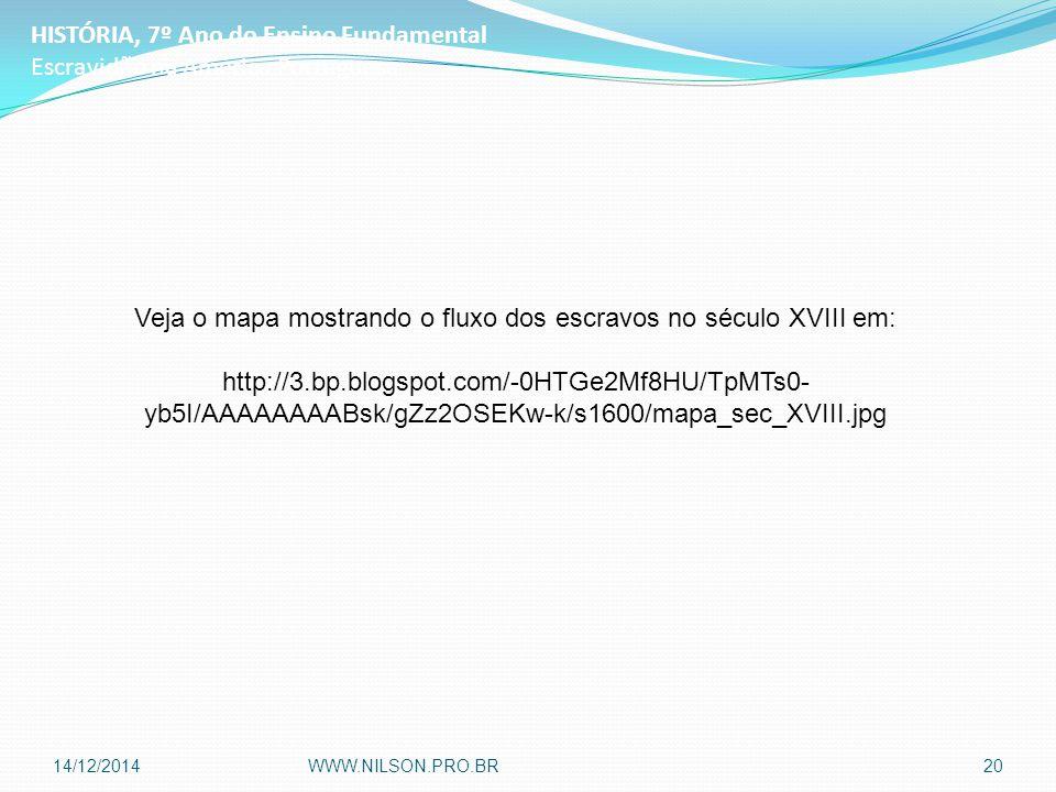 HISTÓRIA, 7º Ano do Ensino Fundamental Escravidão na América Portuguesa Veja o mapa mostrando o fluxo dos escravos no século XVIII em: http://3.bp.blogspot.com/-0HTGe2Mf8HU/TpMTs0- yb5I/AAAAAAAABsk/gZz2OSEKw-k/s1600/mapa_sec_XVIII.jpg 14/12/2014WWW.NILSON.PRO.BR20