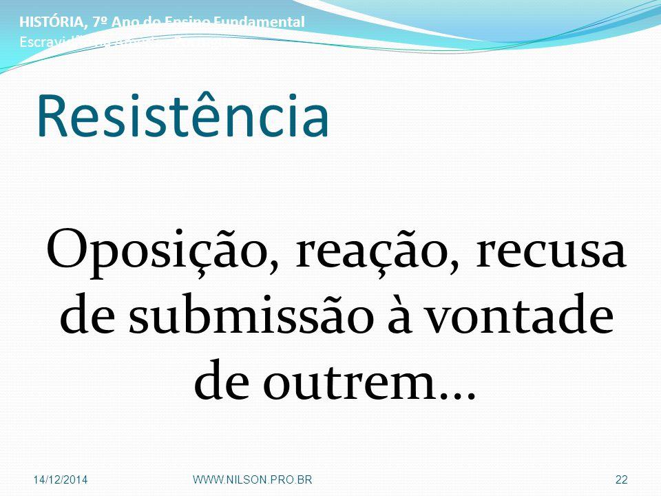 Resistência Oposição, reação, recusa de submissão à vontade de outrem... HISTÓRIA, 7º Ano do Ensino Fundamental Escravidão na América Portuguesa 14/12