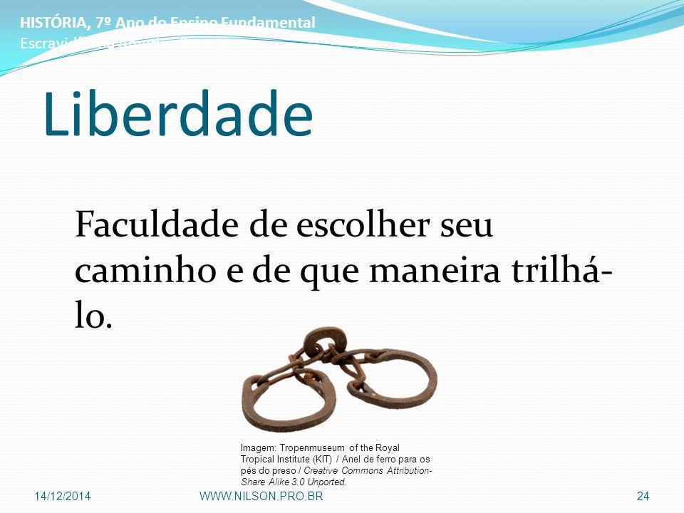 Liberdade Faculdade de escolher seu caminho e de que maneira trilhá- lo. HISTÓRIA, 7º Ano do Ensino Fundamental Escravidão na América Portuguesa Image