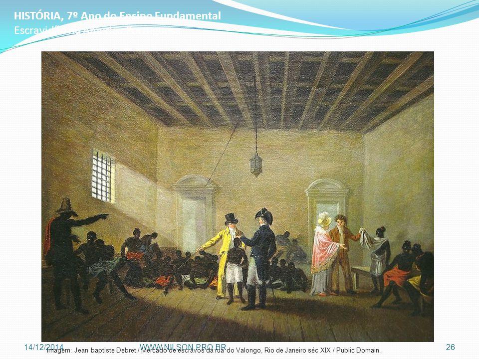 HISTÓRIA, 7º Ano do Ensino Fundamental Escravidão na América Portuguesa Imagem: Jean baptiste Debret / Mercado de escravos da rua do Valongo, Rio de J