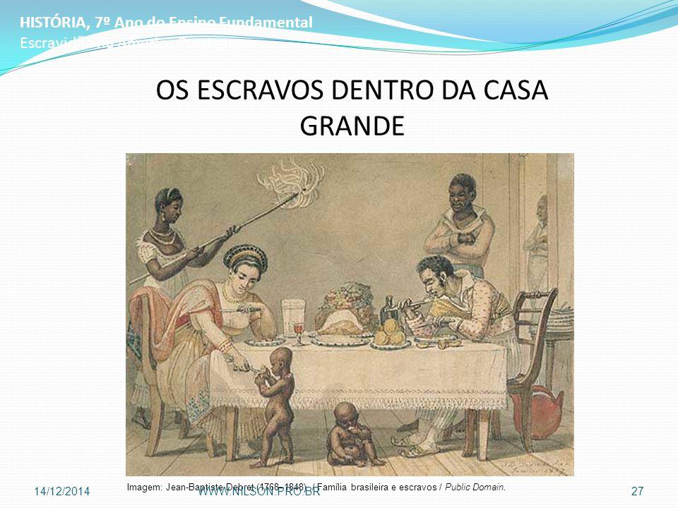 OS ESCRAVOS DENTRO DA CASA GRANDE HISTÓRIA, 7º Ano do Ensino Fundamental Escravidão na América Portuguesa Imagem: Jean-Baptiste Debret (1768–1848) / Família brasileira e escravos / Public Domain.