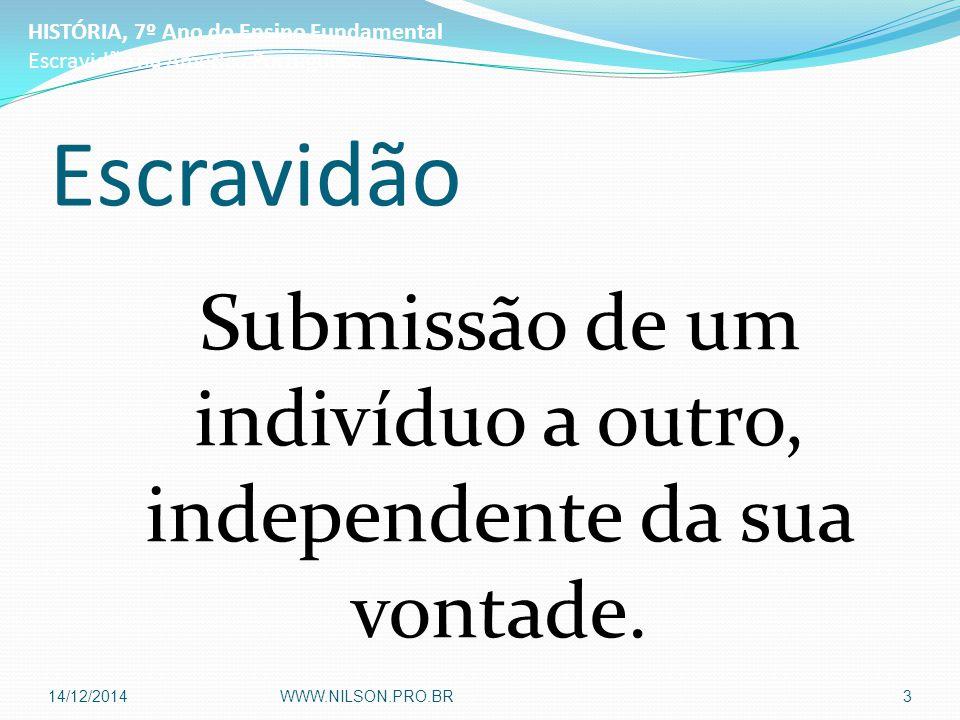 Escravidão Submissão de um indivíduo a outro, independente da sua vontade. HISTÓRIA, 7º Ano do Ensino Fundamental Escravidão na América Portuguesa 14/