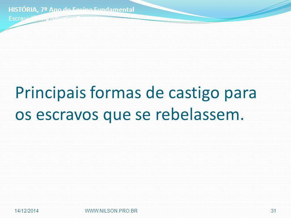 Principais formas de castigo para os escravos que se rebelassem. HISTÓRIA, 7º Ano do Ensino Fundamental Escravidão na América Portuguesa 14/12/2014WWW