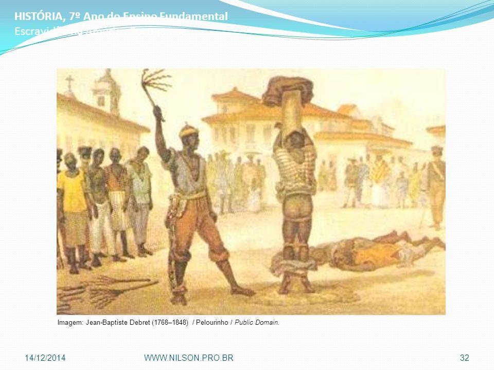 HISTÓRIA, 7º Ano do Ensino Fundamental Escravidão na América Portuguesa Imagem: Jean-Baptiste Debret (1768–1848) / Pelourinho / Public Domain.