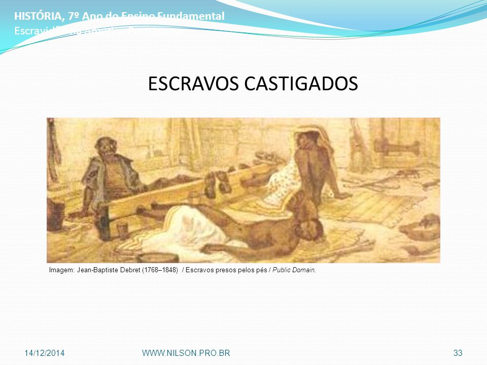ESCRAVOS CASTIGADOS HISTÓRIA, 7º Ano do Ensino Fundamental Escravidão na América Portuguesa Imagem: Jean-Baptiste Debret (1768–1848) / Escravos presos pelos pés / Public Domain.