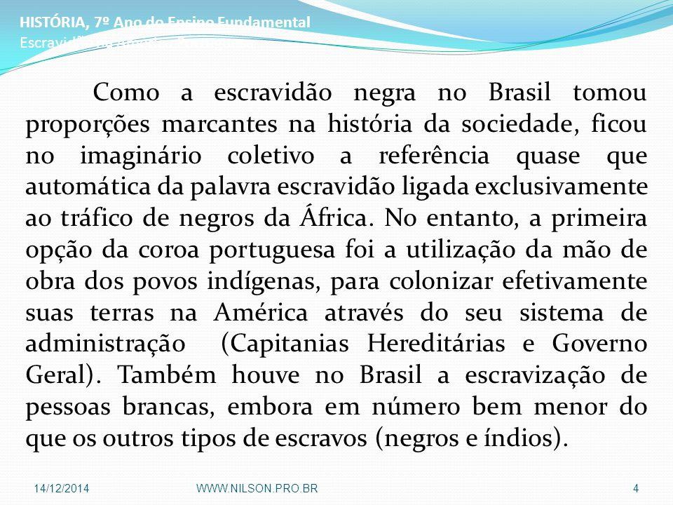 Como a escravidão negra no Brasil tomou proporções marcantes na história da sociedade, ficou no imaginário coletivo a referência quase que automática da palavra escravidão ligada exclusivamente ao tráfico de negros da África.