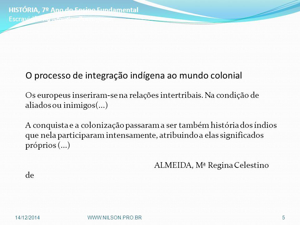 O processo de integração indígena ao mundo colonial Os europeus inseriram-se na relações intertribais.