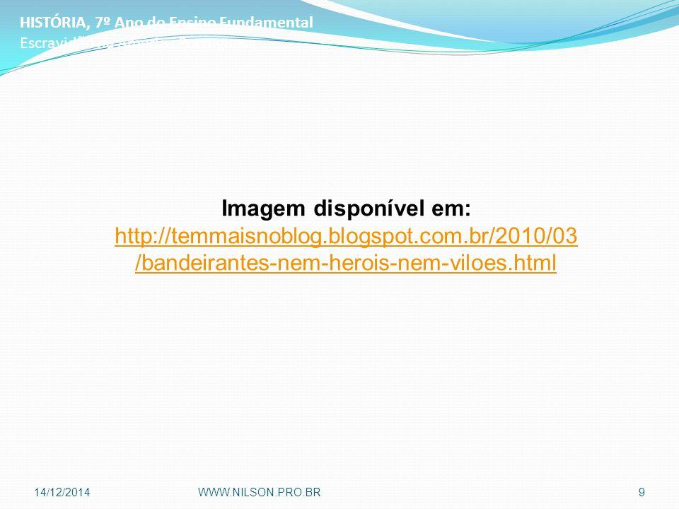 HISTÓRIA, 7º Ano do Ensino Fundamental Escravidão na América Portuguesa Imagem disponível em: http://temmaisnoblog.blogspot.com.br/2010/03 /bandeirantes-nem-herois-nem-viloes.html 14/12/2014WWW.NILSON.PRO.BR9