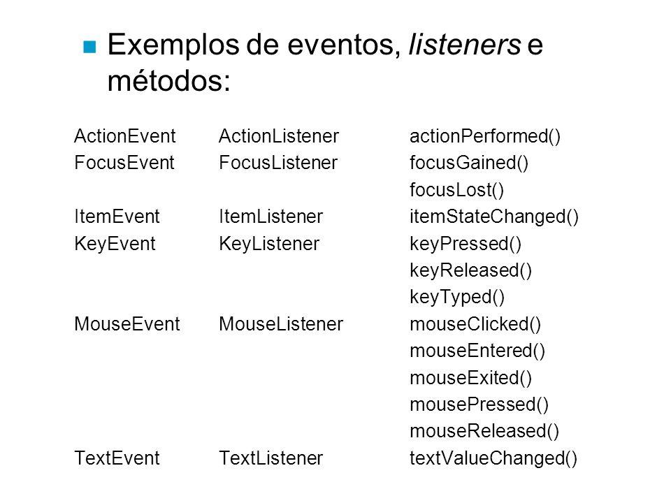 ActionEvent ActionListeneractionPerformed() FocusEvent FocusListenerfocusGained() focusLost() ItemEvent ItemListeneritemStateChanged() KeyEvent KeyLis