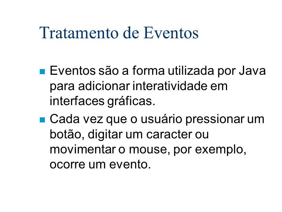 Tratamento de Eventos n Eventos são a forma utilizada por Java para adicionar interatividade em interfaces gráficas. n Cada vez que o usuário pression