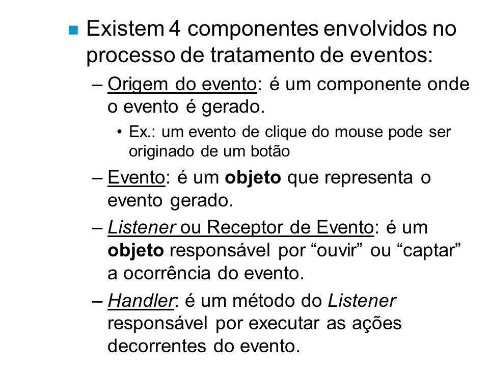 n Existem 4 componentes envolvidos no processo de tratamento de eventos: –Origem do evento: é um componente onde o evento é gerado. Ex.: um evento de