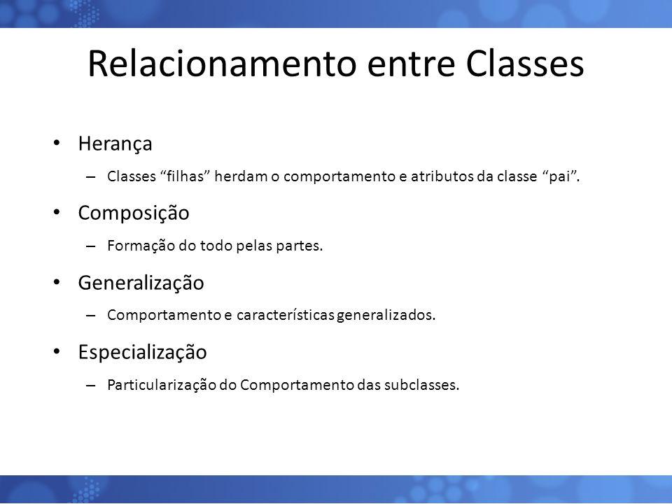 """Relacionamento entre Classes Herança – Classes """"filhas"""" herdam o comportamento e atributos da classe """"pai"""". Composição – Formação do todo pelas partes"""