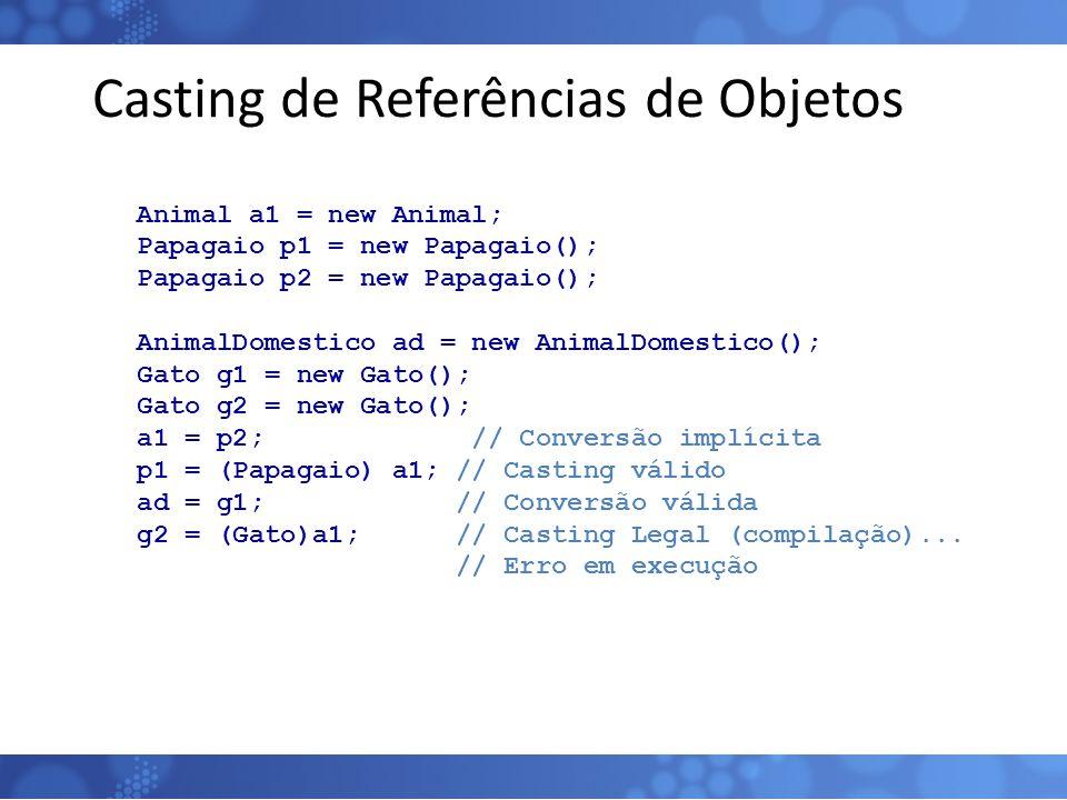 Casting de Referências de Objetos Animal a1 = new Animal; Papagaio p1 = new Papagaio(); Papagaio p2 = new Papagaio(); AnimalDomestico ad = new AnimalD