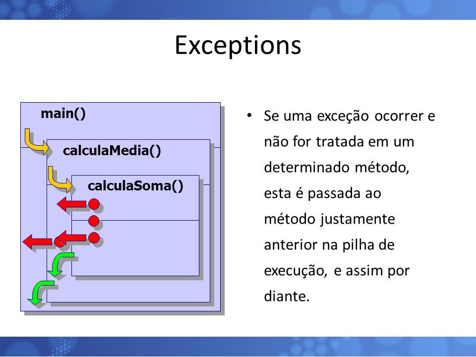 Exceptions Se uma exceção ocorrer e não for tratada em um determinado método, esta é passada ao método justamente anterior na pilha de execução, e ass
