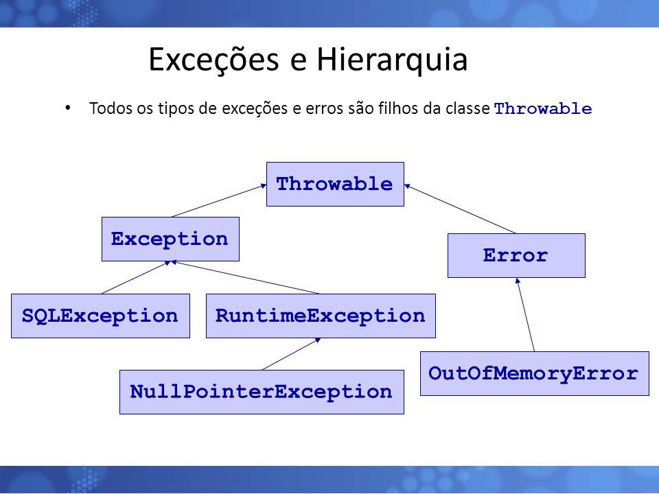 Exceções e Hierarquia Todos os tipos de exceções e erros são filhos da classe Throwable 121 ThrowableExceptionErrorRuntimeExceptionNullPointerExceptio