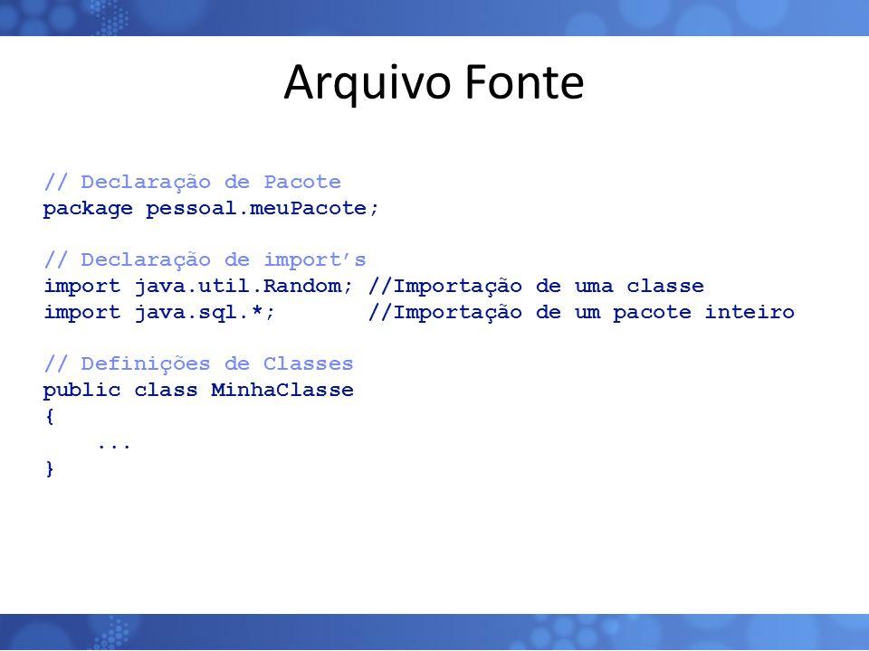 Arquivo Fonte // Declaração de Pacote package pessoal.meuPacote; // Declaração de import's import java.util.Random; //Importação de uma classe import