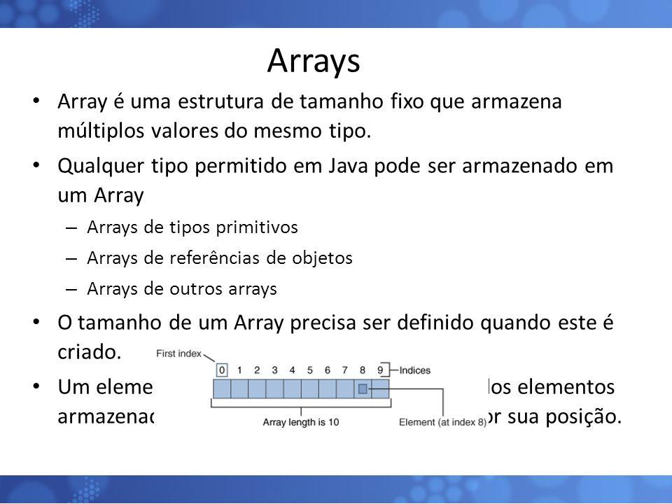 Arrays Array é uma estrutura de tamanho fixo que armazena múltiplos valores do mesmo tipo. Qualquer tipo permitido em Java pode ser armazenado em um A