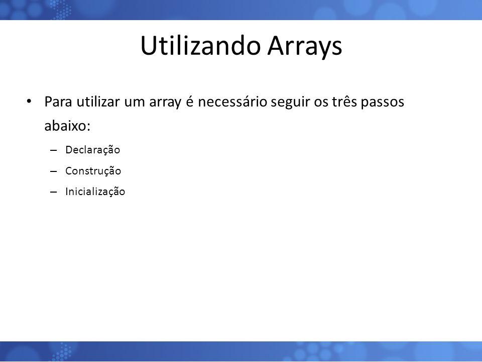 Utilizando Arrays Para utilizar um array é necessário seguir os três passos abaixo: – Declaração – Construção – Inicialização 54
