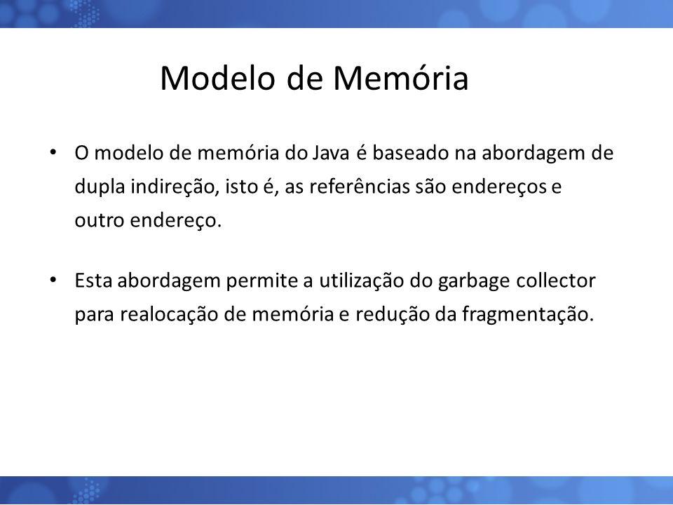 Modelo de Memória O modelo de memória do Java é baseado na abordagem de dupla indireção, isto é, as referências são endereços e outro endereço. Esta a