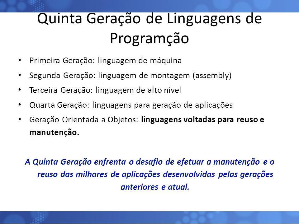 Quinta Geração de Linguagens de Programção Primeira Geração: linguagem de máquina Segunda Geração: linguagem de montagem (assembly) Terceira Geração: