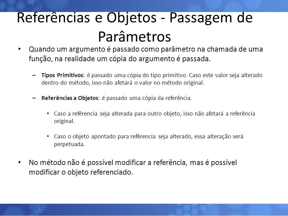 Referências e Objetos - Passagem de Parâmetros Quando um argumento é passado como parâmetro na chamada de uma função, na realidade um cópia do argumen