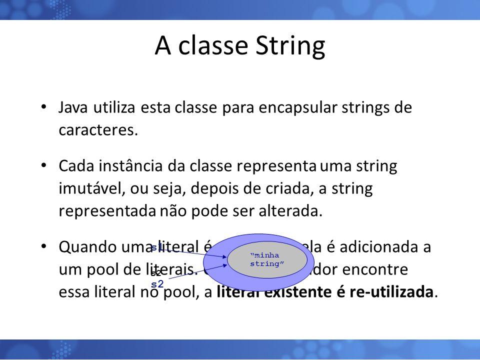 A classe String Java utiliza esta classe para encapsular strings de caracteres. Cada instância da classe representa uma string imutável, ou seja, depo