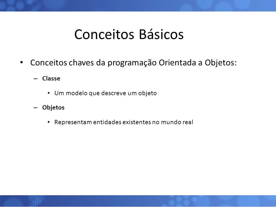 Conceitos Básicos Conceitos chaves da programação Orientada a Objetos: – Classe Um modelo que descreve um objeto – Objetos Representam entidades exist