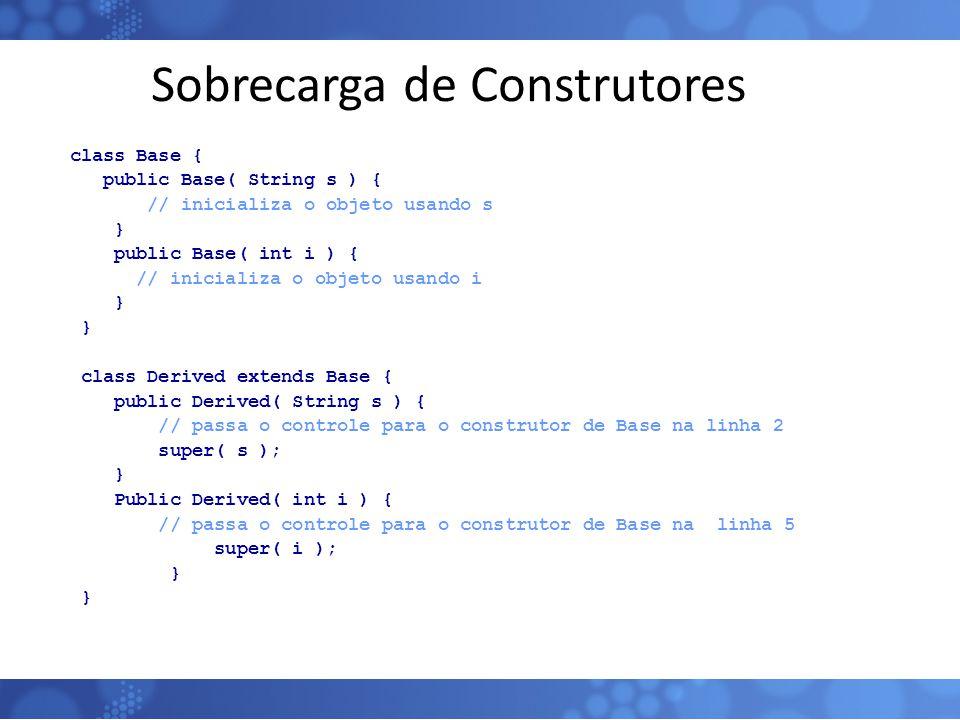 Sobrecarga de Construtores class Base { public Base( String s ) { // inicializa o objeto usando s } public Base( int i ) { // inicializa o objeto usan