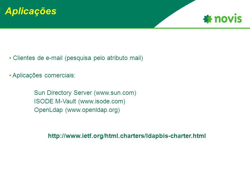 Aplicações Clientes de e-mail (pesquisa pelo atributo mail) Aplicações comerciais: Sun Directory Server (www.sun.com) ISODE M-Vault (www.isode.com) OpenLdap (www.openldap.org) http://www.ietf.org/html.charters/ldapbis-charter.html