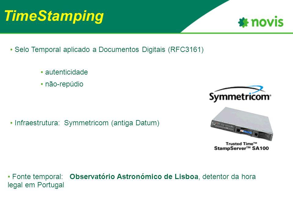 TimeStamping Fonte temporal: Observatório Astronómico de Lisboa, detentor da hora legal em Portugal Selo Temporal aplicado a Documentos Digitais (RFC3161) autenticidade não-repúdio Infraestrutura: Symmetricom (antiga Datum)