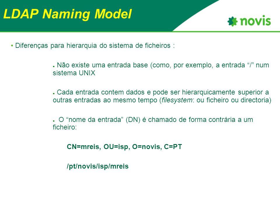 LDAP Naming Model Diferenças para hierarquia do sistema de ficheiros : ● Não existe uma entrada base (como, por exemplo, a entrada / num sistema UNIX ● Cada entrada contem dados e pode ser hierarquicamente superior a outras entradas ao mesmo tempo (filesystem: ou ficheiro ou directoria) ● O nome da entrada (DN) é chamado de forma contrária a um ficheiro: CN=mreis, OU=isp, O=novis, C=PT /pt/novis/isp/mreis