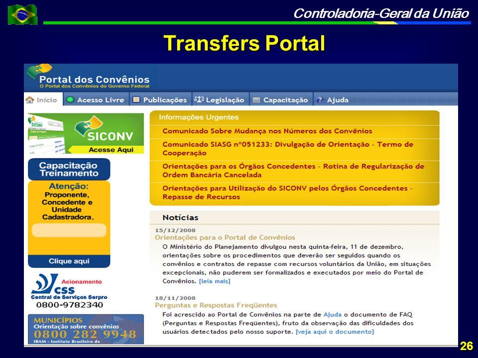 Controladoria-Geral da União 26 Transfers Portal