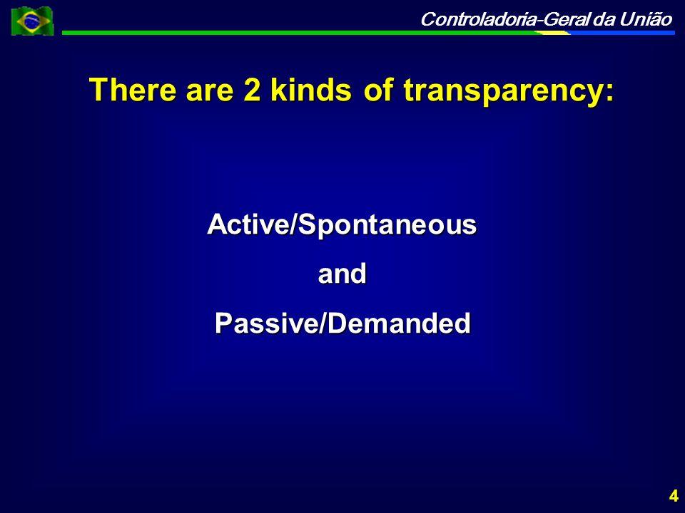 Controladoria-Geral da União There are 2 kinds of transparency: Active/SpontaneousandPassive/Demanded 4