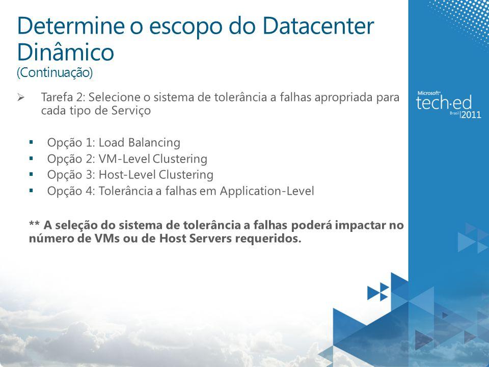 Determine o escopo do Datacenter Dinâmico (Continuação)  Tarefa 2: Selecione o sistema de tolerância a falhas apropriada para cada tipo de Serviço  Opção 1: Load Balancing  Opção 2: VM-Level Clustering  Opção 3: Host-Level Clustering  Opção 4: Tolerância a falhas em Application-Level ** A seleção do sistema de tolerância a falhas poderá impactar no número de VMs ou de Host Servers requeridos.