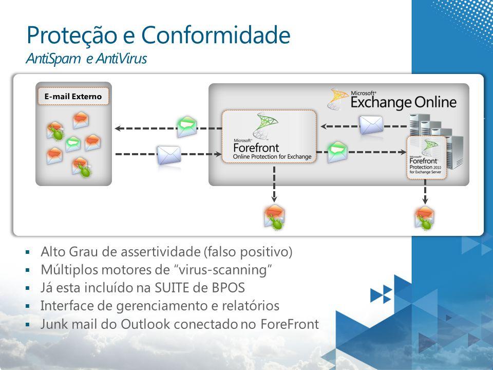  Alto Grau de assertividade (falso positivo)  Múltiplos motores de virus-scanning  Já esta incluído na SUITE de BPOS  Interface de gerenciamento e relatórios  Junk mail do Outlook conectado no ForeFront E-mail Externo