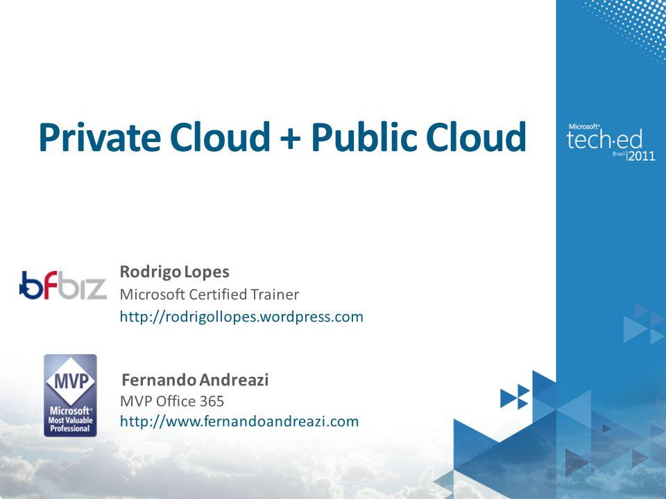 Private Cloud + Public Cloud Fernando Andreazi MVP Office 365 http://www.fernandoandreazi.com Rodrigo Lopes Microsoft Certified Trainer http://rodrigollopes.wordpress.com
